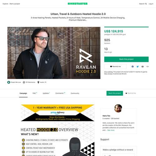 Kickstarter Campaign Page for Ravean Hoodie 2.0