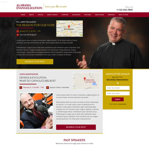 Design a simple event registration site for Catholic-themed luncheonsin Alabama