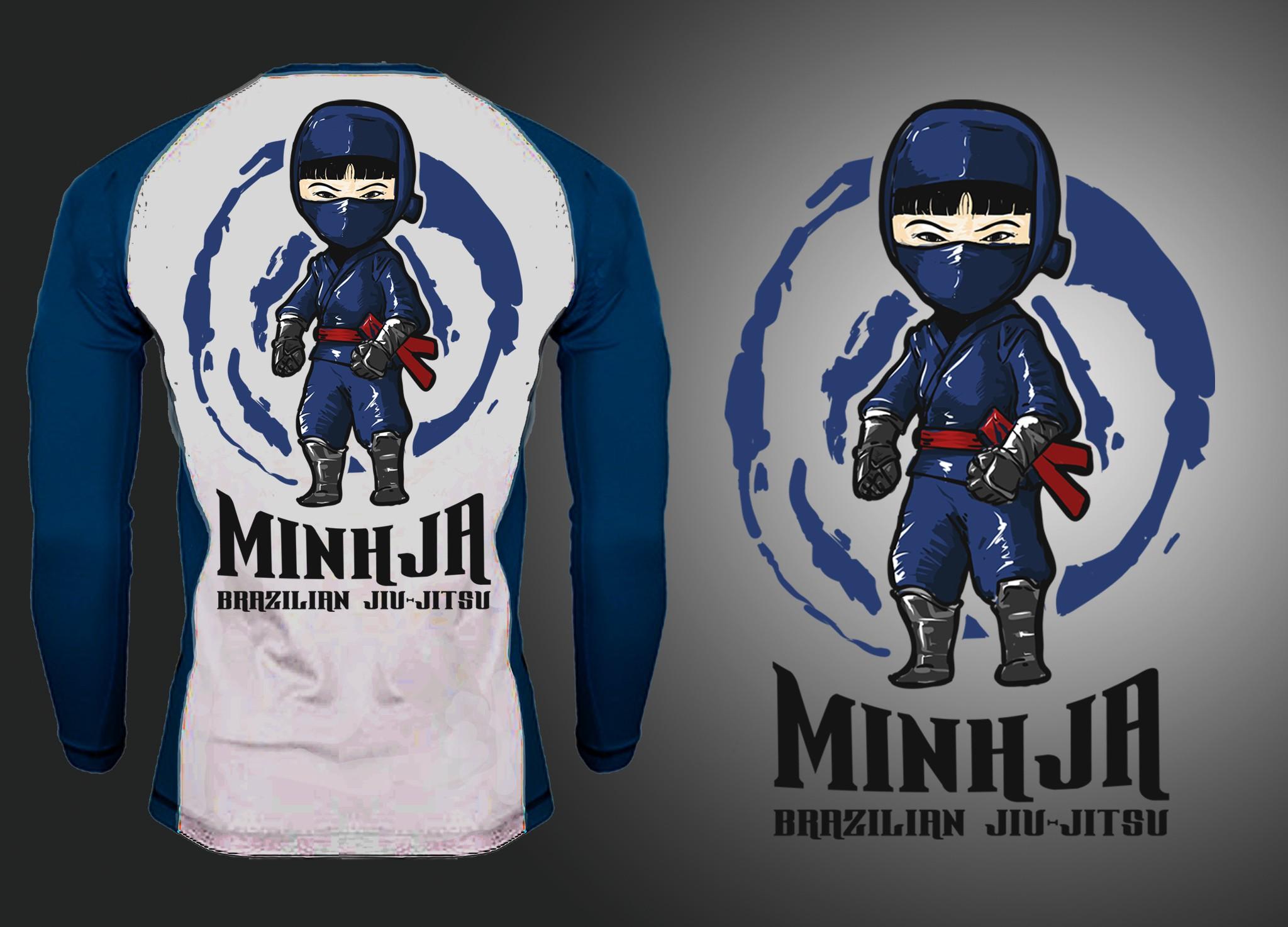 Female ninja on back of rash guard (Brazilian jiujitsu)