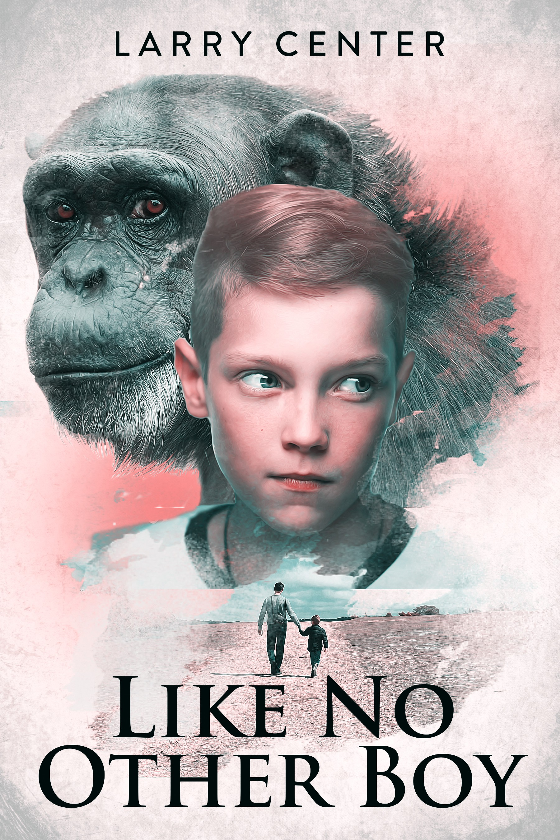 design a book cover for a novel about a boy, his father, and a chimpanzee