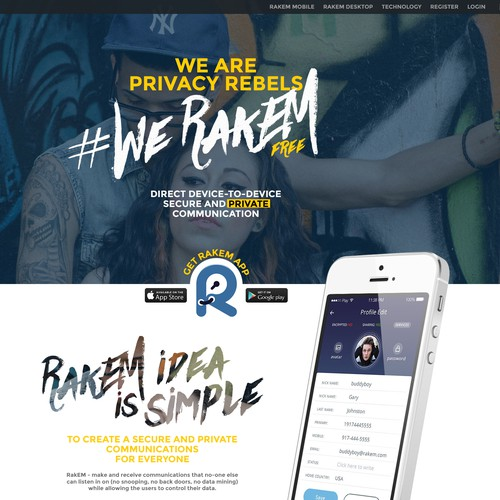 Design website for Raketu new app called RakEM