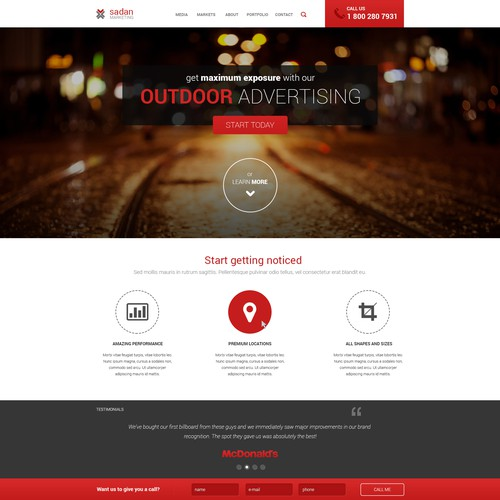 Web site design for an advertising company
