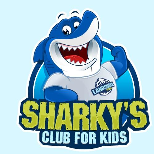 """A playful shark """"Sharky"""" wearing a Landshark Fitness T-Shirt needs a new logo"""