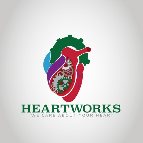 Logo for a heart device research company that involves a 3D human heart with gears and cogs
