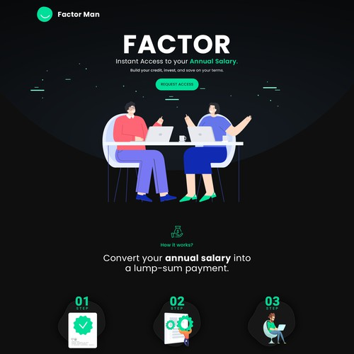 Landing page for getting your salary up front