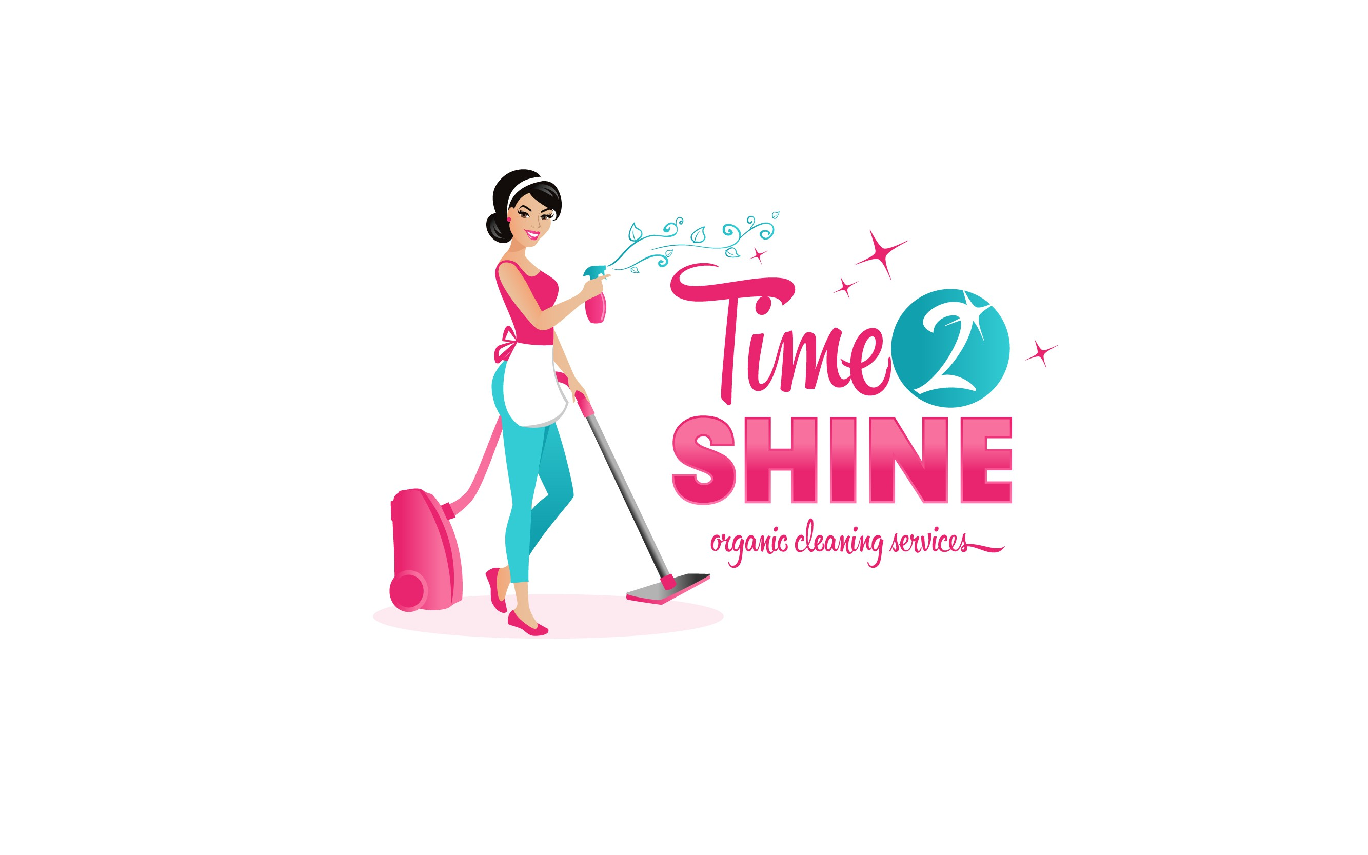Create a captivating modern logo for Time 2 Shine organic cleaning services