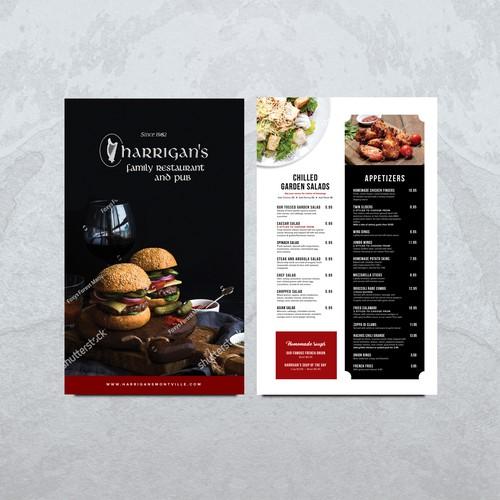 Family Restaurant and Pub Menu Design