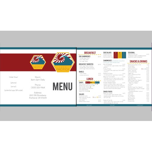 First Menu Design for Cafe Pacifica