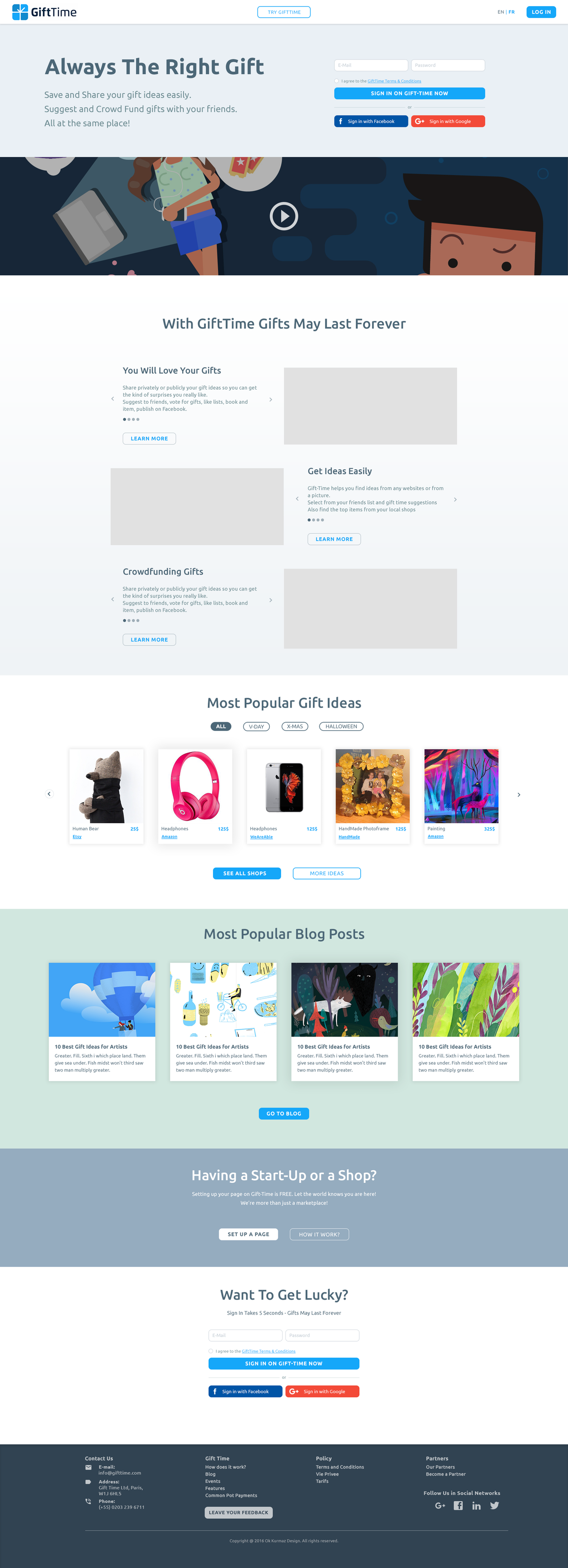 Gift Time - mobile landing page