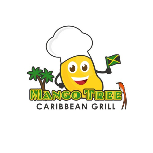 Character logo for a Jamaican restaurant
