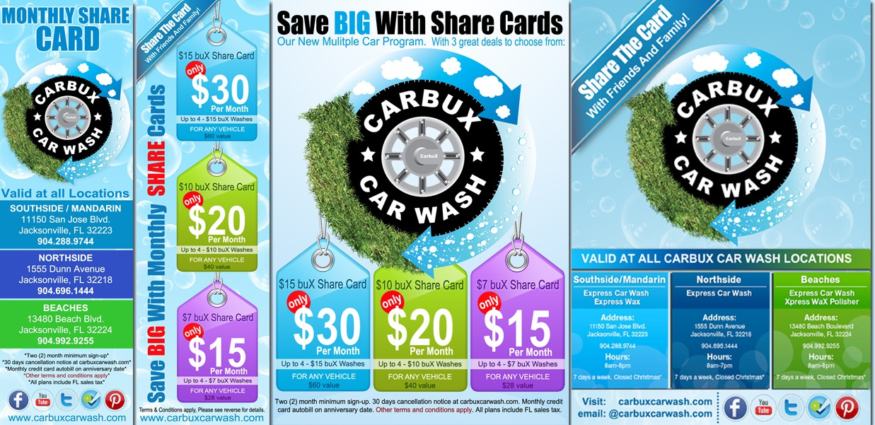 Help CarbuX Car Wash with a new postcard or flyer
