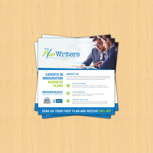 GUARANTEED + $5 ADD ON bonus to shortlist: Flyer for business plan writers - the BEST from the BEST - Quick turnaround!