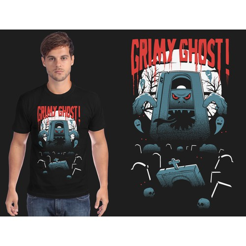 """Create a grotesque and spooky """"Grimy Ghost!"""" t-shirt for our found footage collective!"""