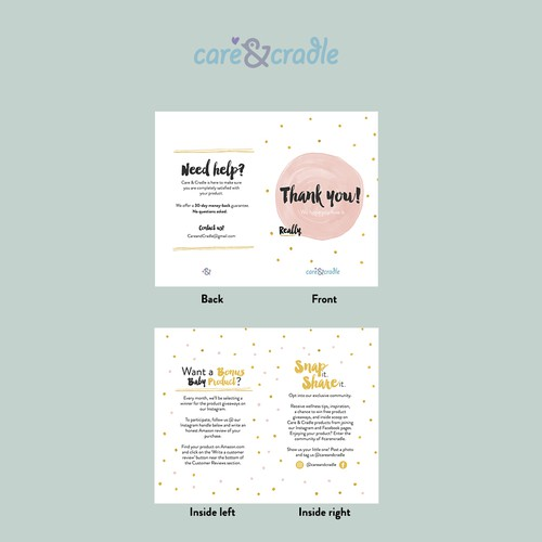 Thank you card for Baby Brand