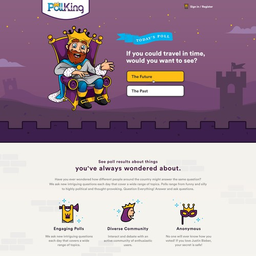 Landing page design for a fun polling website