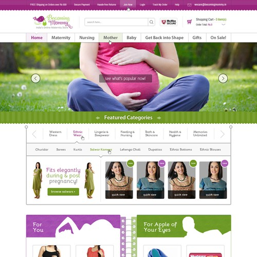 Creative Homepage Design for Online Maternity Ecommerce Store