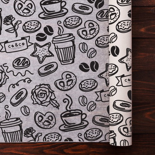 Bold doodle pattern for Coffee Shop