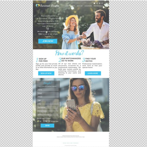 Powerful landing page for online dating service