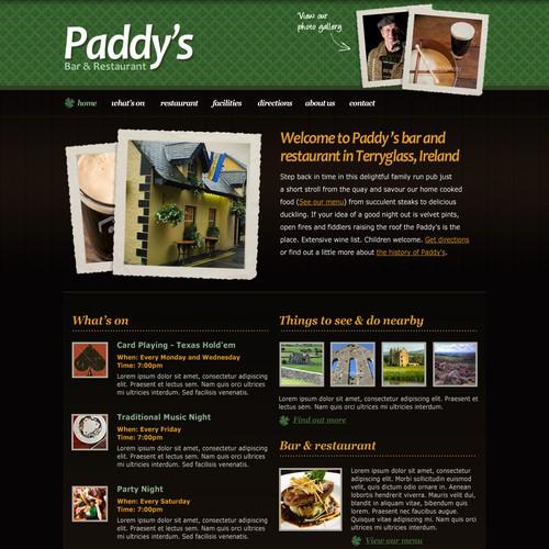 Homepage Design for an Irish Pub
