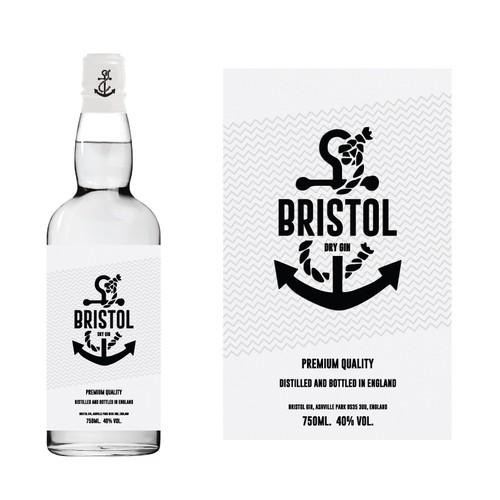 Innovative Label for New Premium Bristol Gin