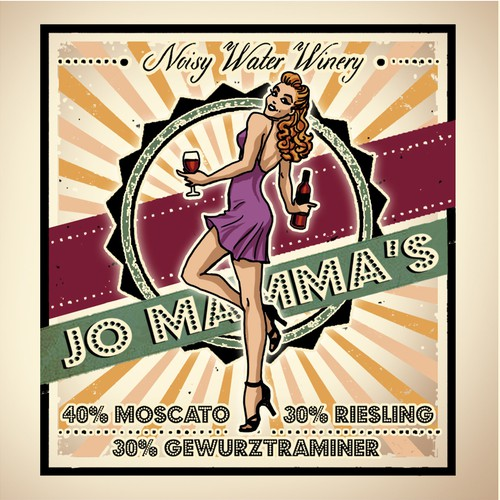 Vintage Pinup Illustration design for a Wine Label