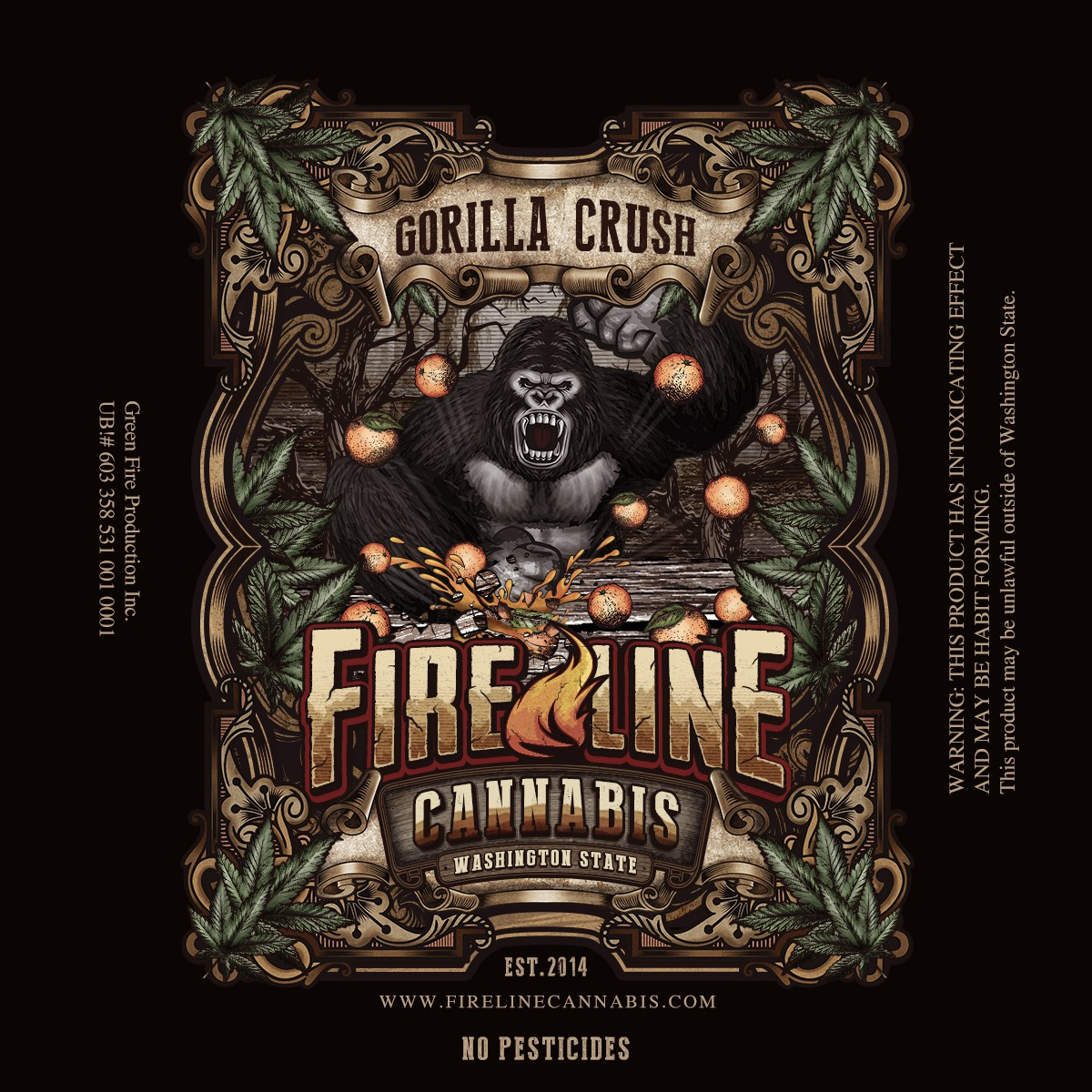 New package Labels for #1 Cannabis Producer in Washington...Fireline Cannabis.