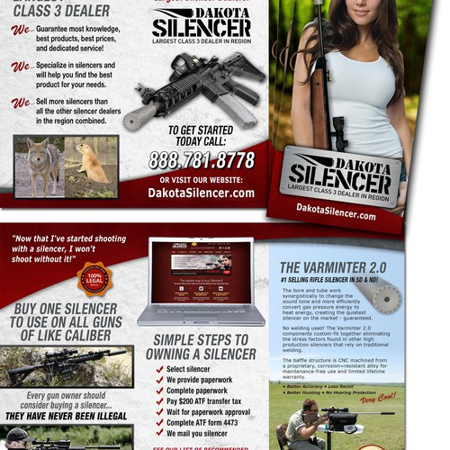 Create the next brochure design for Dakota Silencer