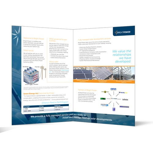 A4 Corporate Brochure req'd for fun, young Solar Power Devp'r