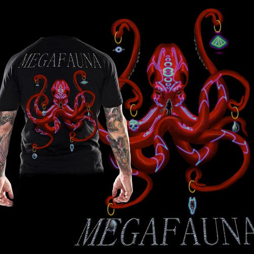 Create a T-Shirt for Austin rock band, Megafauna