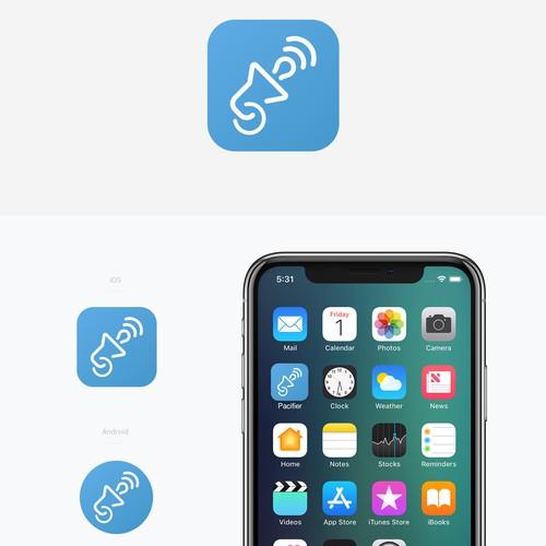 iOS App Icon: Merge Pacifier & Loudspeaker