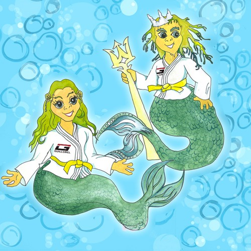 Jiu-Jitsu Martial Art Triton and Mermaid Cartoon