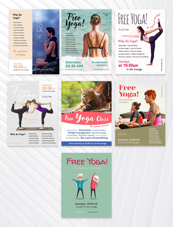 Fun flyers for FREE Yoga!