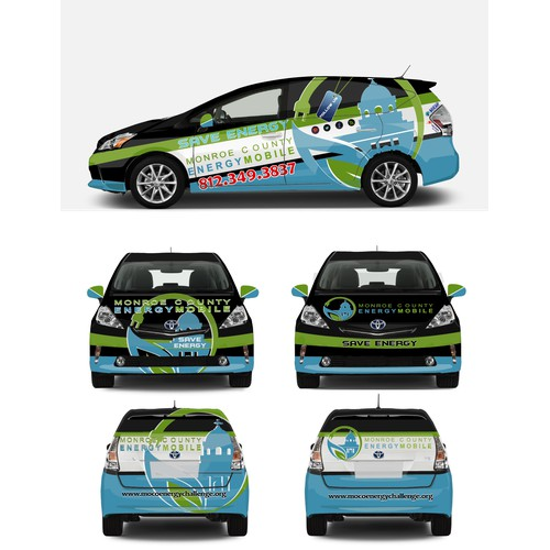 Mobilize a community to save energy with an engaging, colorful vehicle wrap