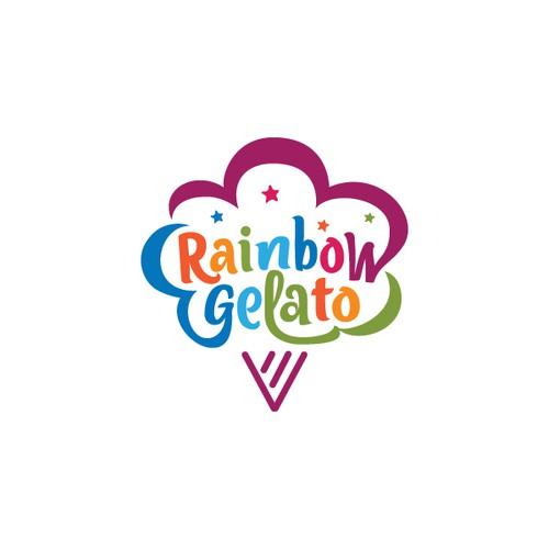 rainbow gelato, colorful , fun , and yummy