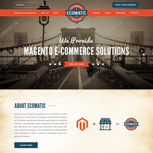"winning web design for Magento ecomerce ""Ecomatic"""