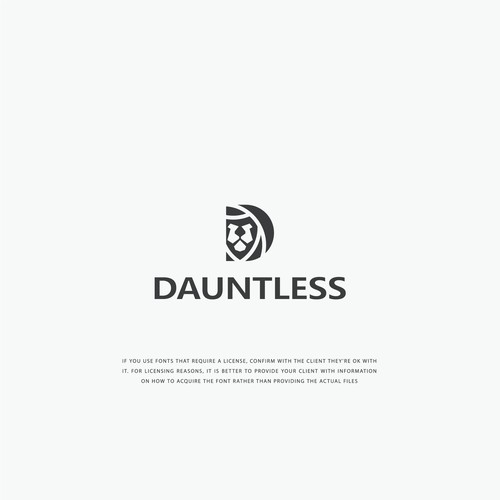 Flat minimalist logo concept for Dauntless