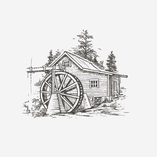 Hand-drawn illustration for BrassTown mill