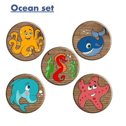 Cartoon animals. Ocean set