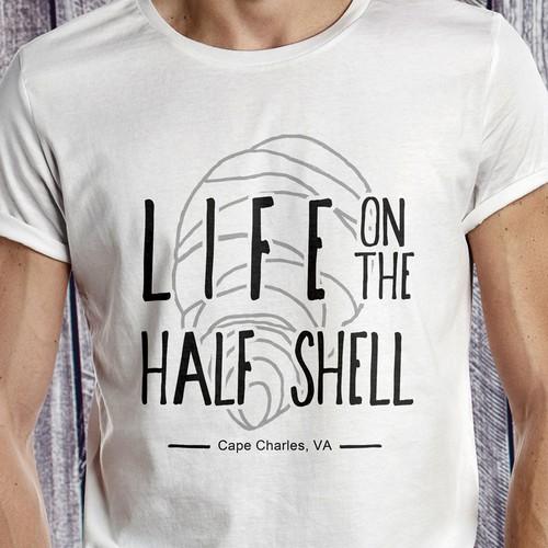 T-shirt design Life on the half shell