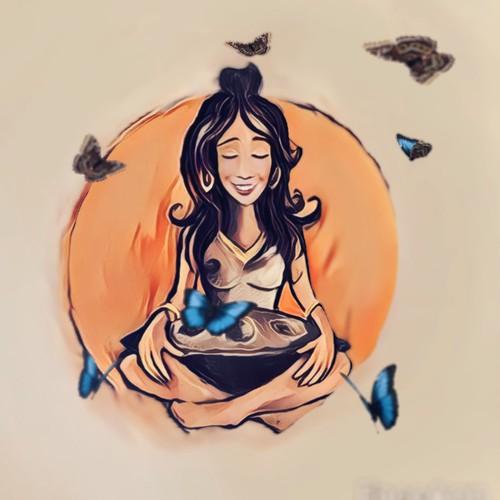 Hang pan girl illustration