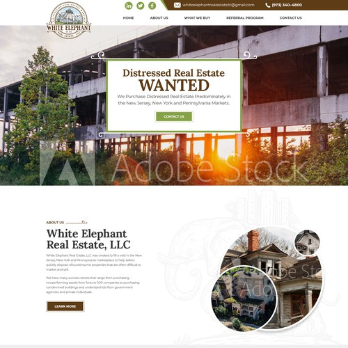Website design for an environmentally responsible real estate company