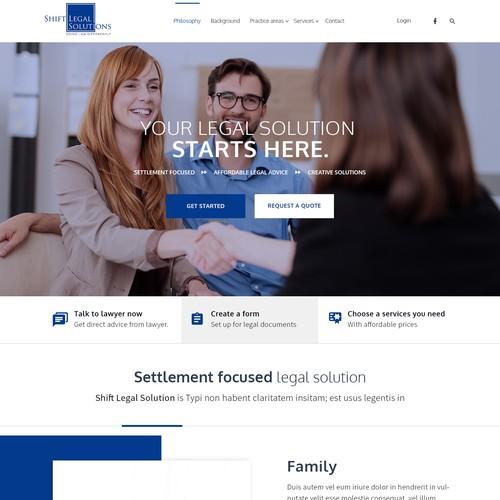 Website design for Shift legal solution