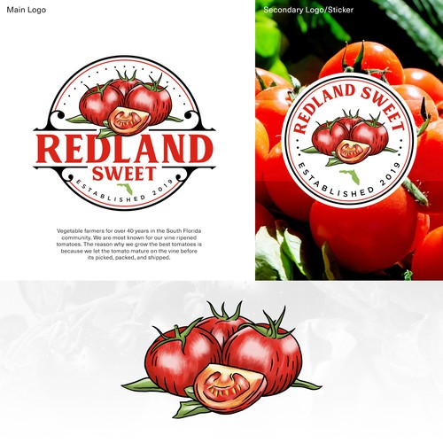 Vintage Logo with Realistic Tomatoes Illustration on It