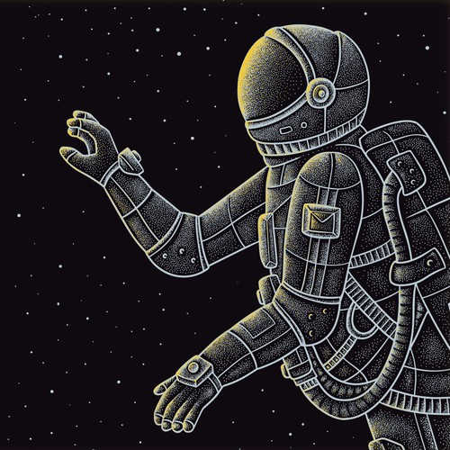 Astronaut Illustration for Envelope Design