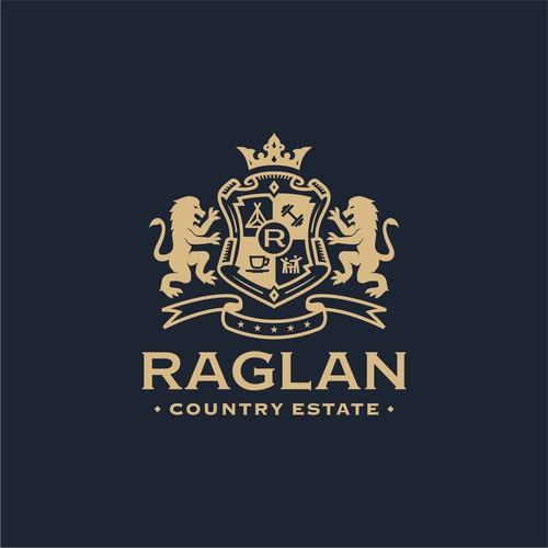 Classic luxury emblem logo design concept for Raglan Country Estate