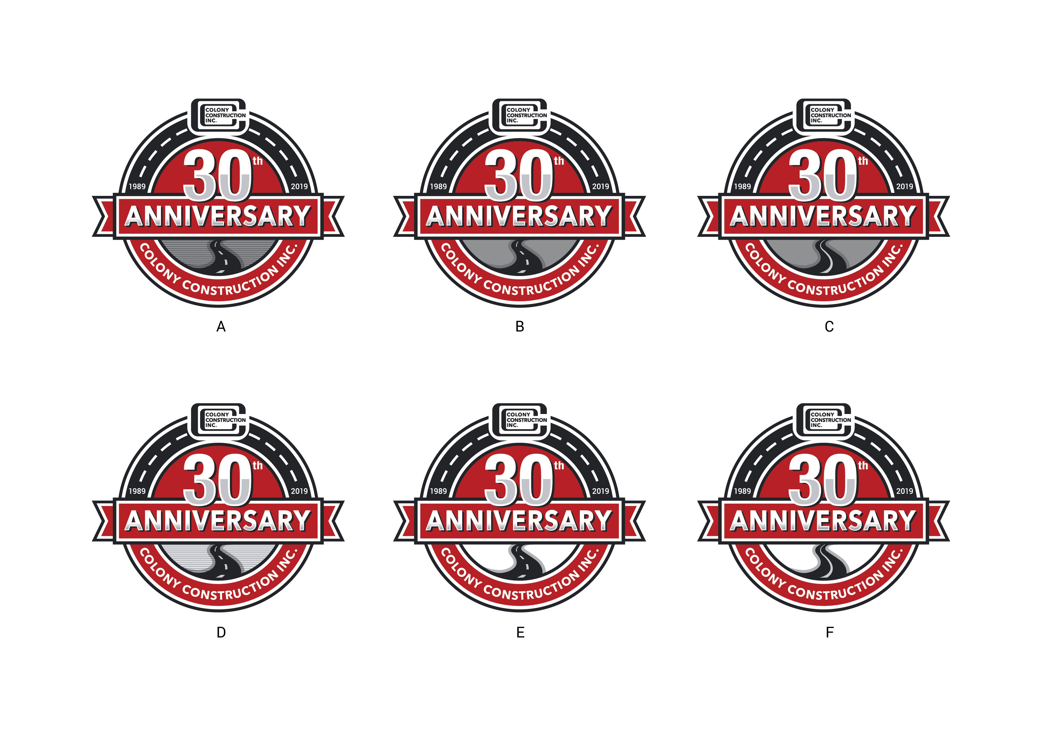 Asphalt paving company Colony Construction, Inc. needs a 30th Anniversary logo