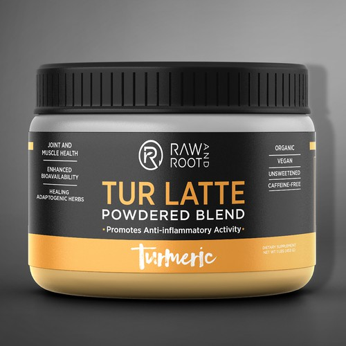 Raw And Root Tur Latte Packaging