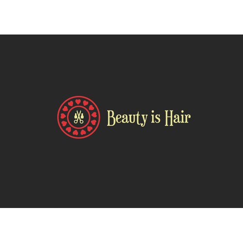 A fun edgy modern logo for Beauty is Hair