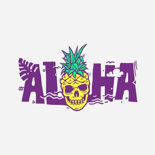 ALOHA Pineapple Skull