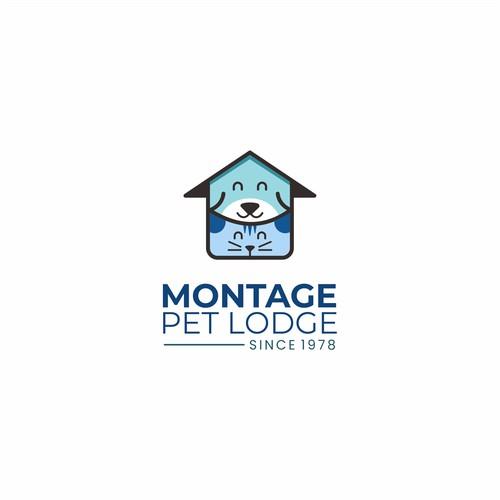 montage pet lodge logo concept